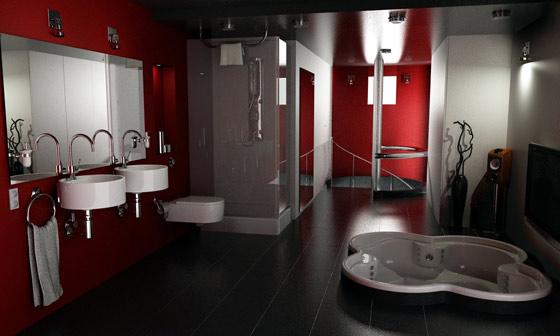 ไอเดียแต่งห้องน้ำโทนสีแดงทั้งสวย ทั้งมีเสน่ห์